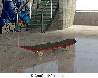 skateboard on  concrete in parking