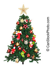Christmas tree - Christmas tree with ornaments Isolated on...
