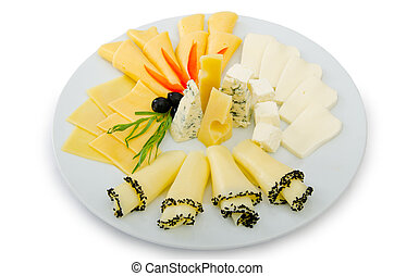 Cheese platter with selection