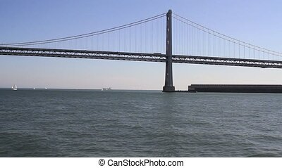 Bay Bridge in San Francisco City from Waterfront Pier in...