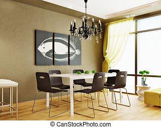 kitchen - modern interior kitchen with nice furniture inside