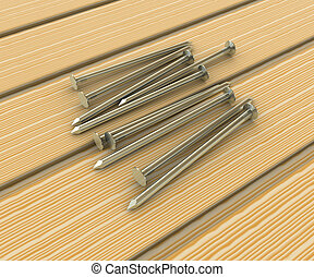 Metal nails in wooden boards