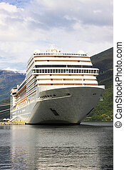 cruise ship in the port of Flaam, Aurlandsfjord Sognefjord -...