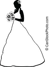 bride silhouette - Vector image of bride silhouette with...