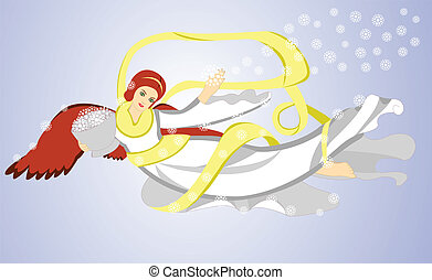 flying christmas angel - Vector image of flying christmas...