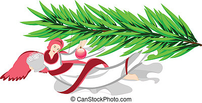 Christmas angel on a tree - Vector image of Christmas angel...