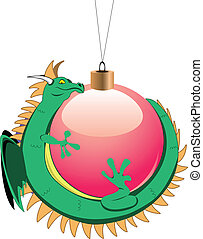 tiny dragon around christmas ball