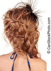 pelo, trenza, vista, moderno, hembra, peinado