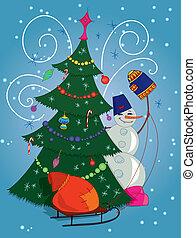 Snowman with gift bag and Christmas tree