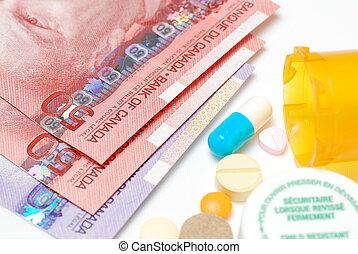 Medicine costs money   - Macro Canadian money and medicine