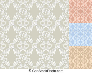 Seamless background flowers Set