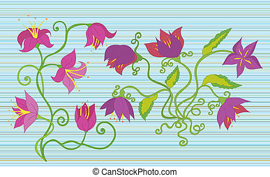 Purple and pink flowers on striped background