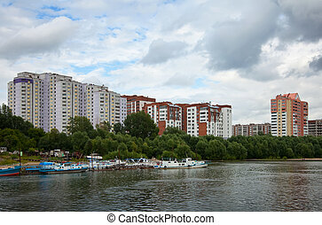 residential district at Novosibirsk city from river side...