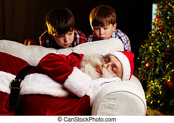 Christmas amazement - Photo of Santa Claus sleeping on sofa...