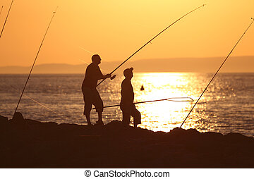 Fishermen in the sunset