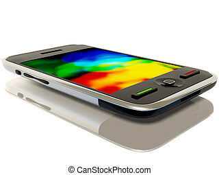 phone - black smartphone on white background