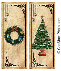 Christmas labels or postcards - Two vintage christmas...