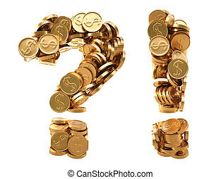 marks - question and exclamation marks from golden coins....