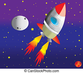 Rocket in space,vector