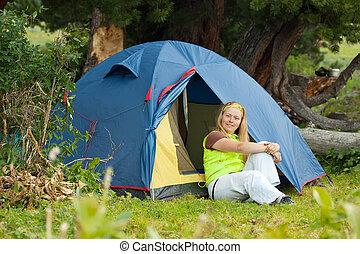 Camping woman