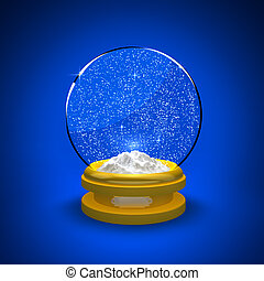 Snow Globe - Snow globe with snow only against a blue...