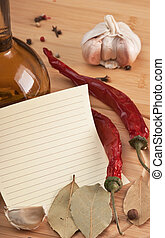 blank sheet for cooking recipes and spices
