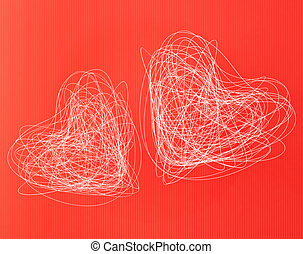 hearts - two white hearts on red striped background