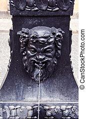 retro street fountain with mythological head - retro street...