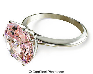 ring with a pink diamond on a white background