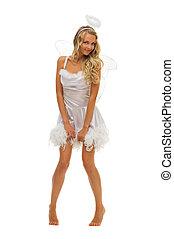 woman in carnival costume.  Angel  shape