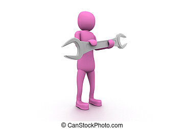 Person hold spanner