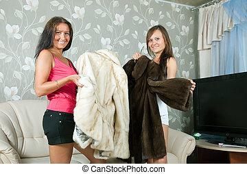 mulheres, Fazer, Ostentação, pele, casacos