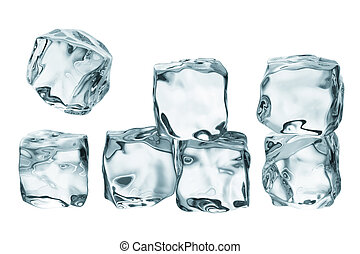 ice cubes - stack of ice cubes isolated on white background