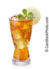 iced tea - glass of iced tea isolated on white