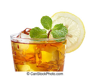 iced tea - close up of iced tea against white background