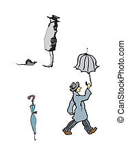 Man with umbrella - Hand-drawn illustration of a man walking...