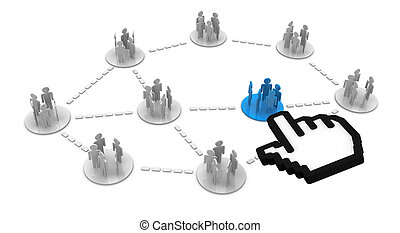 groups connect - groups of people cartoon connected each...
