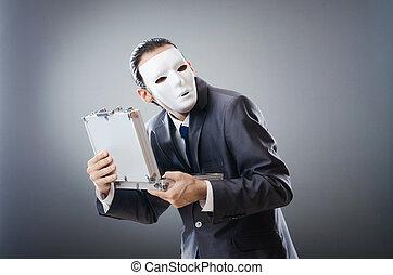 industrial, espionate, concepto, enmascarado, hombre de...