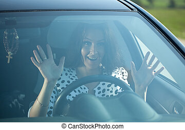 fright woman in car - fright woman inside her car