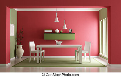 Dining room - Elegant red ang green dining room-rendering
