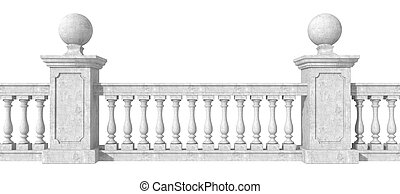 Balustrade on white - classic balustrade with pedestal...