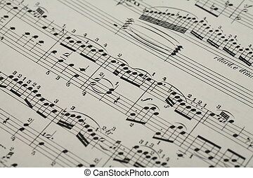 music sheet - close-up of an old music sheet, very shallow...