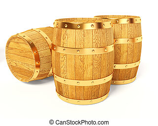 barrel - wood barrel on white background