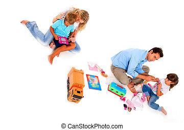 couple, jouer, enfants