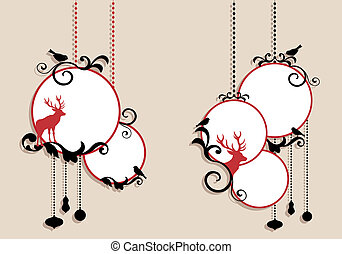 christmas balls, vector - christmas balls with deer...