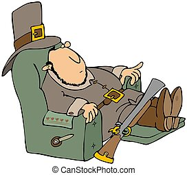 Tired Pilgrim In A Recliner - This illustration depicts a...