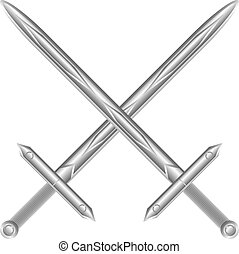 Two crossed swords on white - Two crossed swords isolated on...