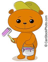 Teddy bear house painter