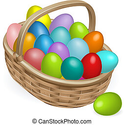 Easter eggs basket illustration - Colourful painted Easter...