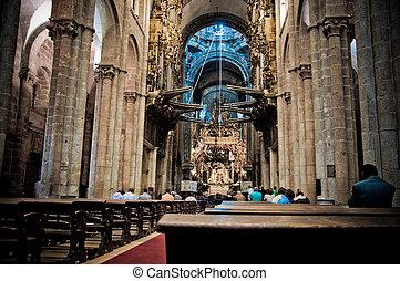 Santiago de Compostela en Galicia con su imponente catedral